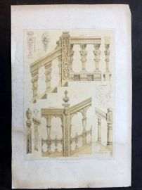 Charles Richardson 1840's Print. Elizabethan & Charles II Staircases